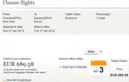 Flugschnäppchen: Frankfurt - Australien für 690 € mit Singapore Airlines