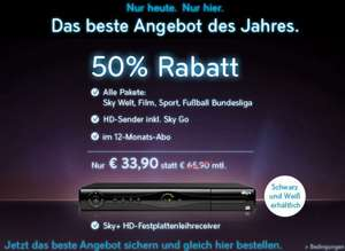 Super! Alle Sky-Pakete inkl. HD-Sender, Sky Go & HD-Festplattenreceiver für 33,90 € monatlich