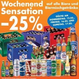 Schnäppchenübersicht für Essen & Trinken - z.B. 25% Rabatt auf Bier + Limonaden