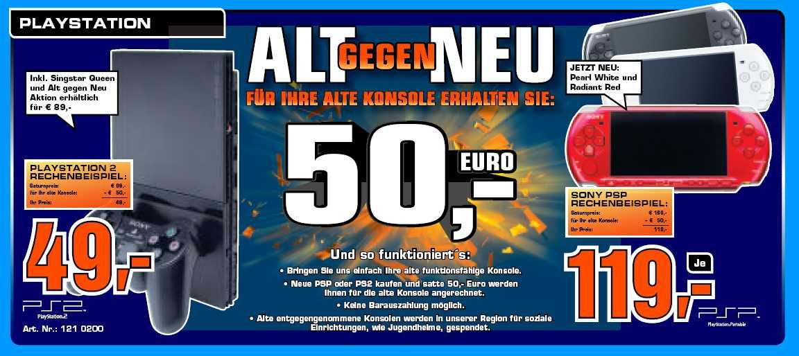 """Saturn Regional """"Alt gegen Neu"""" - PS2 für 49€, PSP für 119€"""