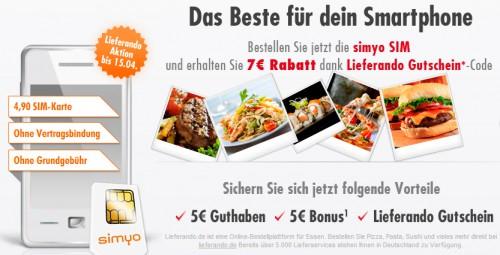 Simyo: SIM-Karte für 4,90 € mit 7 €-Lieferando-Gutschein und bis zu 15 € Guthaben