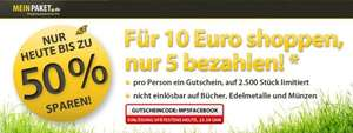 5 € MeinPaket Gutschein mit 9,99 € Mindestbestellwert - nur heute gültig