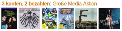 3 für 2-Aktion auf Multimedia-Produkte bei Amazon - mit Filmen, Spielen & Musik