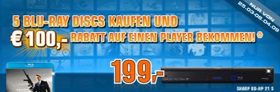 Rabattaktion bei Saturn - 100€ beim Kauf eines Blu-Ray Players und 5 Blu-Rays