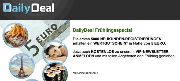 5 Euro DailyDeal Wertgutschein für Neukunden