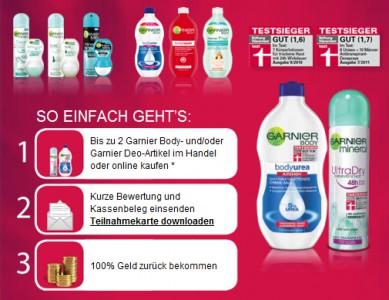 Cashback-Aktion von Garnier - 2 Body-Artikel oder Deodorants komplett kostenlos