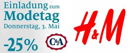 Filial-Rabatte: 35% auf einen Artikel bei H&M Deutschland & 25% Rabatt bei C&A Österreich