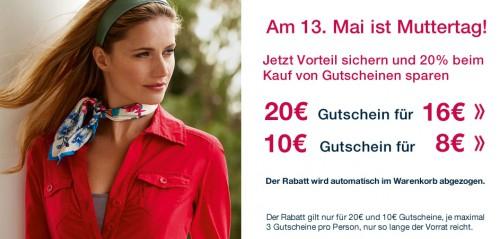 Muttertags-Aktion bei Tom Tailor: Geschenkgutscheine mit 20% Rabatt kaufen