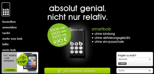 Wieder da: smartbob - 1.000 Minuten, 1.000 SMS & 1GB für 9,90 € / Monat