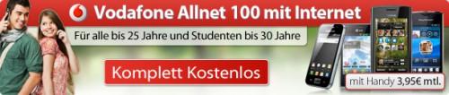 Vodafone Allnet 100 (100 Freiminuten, Surf-Flatrate) gratis - für alle bis 25 Jahre & Studenten