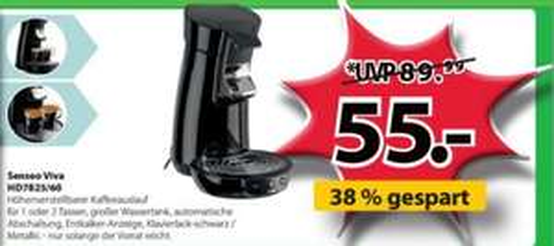 Philips Senseo Viva HD 7825/60 für 55 € - 19% Ersparnis