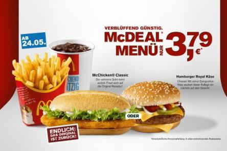 McDeal Menü (Burger, Pommes & Getränk) für 3,79 € bei McDonald's Deutschland