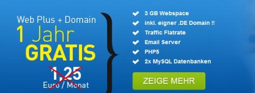 3 GB Webspace + .de-Domain, Mail-Server & MySQL-Datenbanken für 1 Jahr gratis *Update* jetzt mit 5 GB