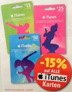 Eurospar: 15% Rabatt auf alle iTunes-Karten - ab 31. Mai