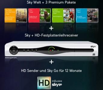 Super! Sky-Komplettpaket inkl. HD-Sender, Sky Go & HD-Festplattenreceiver für 33,90 € monatlich