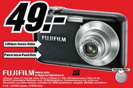 Digitalkamera-Angebote bei Media Markt - z.B. Fujifilm Finepix JV200 für 49 €