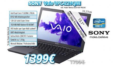 Subnotebook Sony Vaio Z21Q9E für 1399 € - 22% Ersparnis