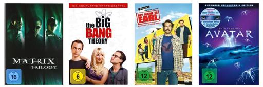 DVD- und Blu-ray-Angebote bei Saturn - und Konter von Amazon - z.B. DVDs ab 4,99 €