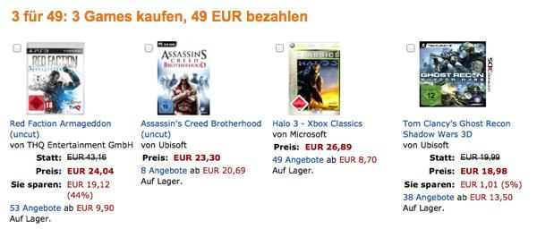 3 Games für 49 Euro bei Amazon