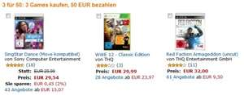 Neue Spiele-Aktionen bei Amazon: 3 Games für 50 € oder 2 Spiele für 40 €