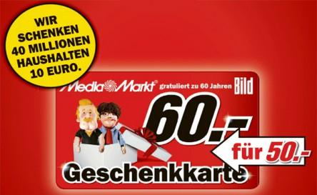 Media Markt: 60 € Gutschein für 50 € - ab Donnerstag *Update* nur noch heute