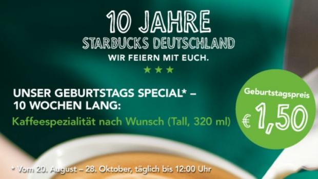 """10 Jahre Starbucks: """"Tall"""" Kaffee nach Wunsch für 1,50 Euro"""