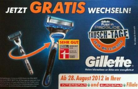 Wieder da: Gillette Tausch-Tage vom 28. August bis 12. September bei Interspar und Eurospar