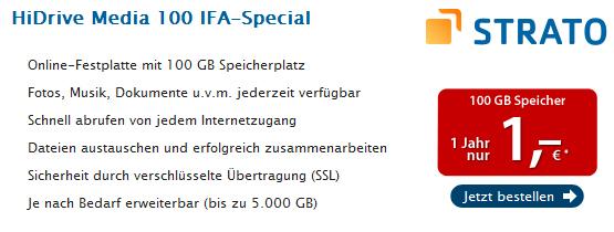 Super: 1 Jahr 100 GB Online-Speicher von Strato für einmalig 1 €
