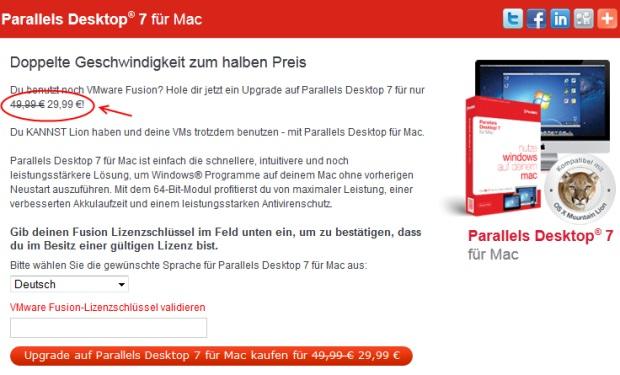Parallels Desktop 7 & 8 Upgrade (Mac) für 19 Euro statt 49 Euro