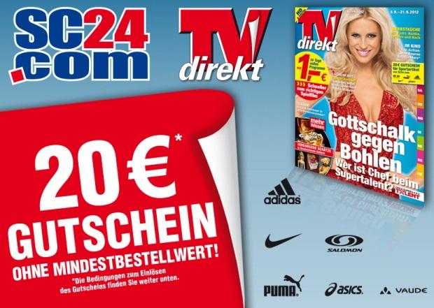 Top! 20 Euro SC24 Gutschein ohne Mindestbestellwert (zzgl. 6,99€ Versand) - Sportmode sau günstig!