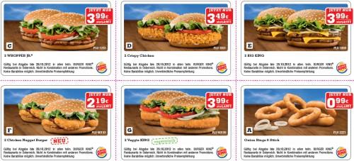 Gutscheinheft für Burger King Österreich – bis zu 50% sparen