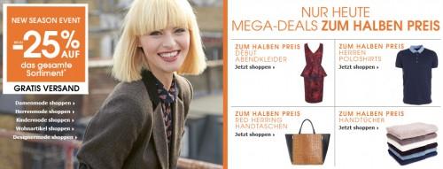 Debenhams: bis zu 25% Rabatt auf ausgewählte Mode + zusätzlich 10% sparen und gratis Versand