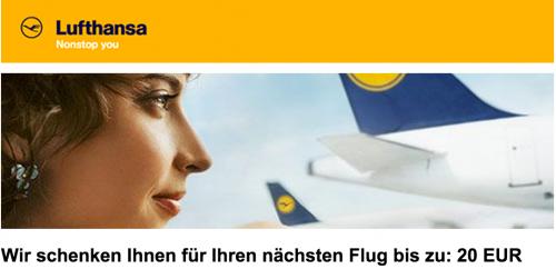 Neuer 20 Euro Lufthansa Gutschein *Update* wieder verfügbar!