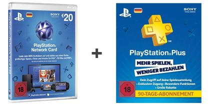 Amazon: PlayStation Network Card (20 €) + 90 Tage PlayStation Plus für 18,99 €