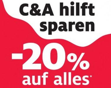 C&A Österreich: 20% Rabatt auf das gesamte Sortiment - vom 04. bis 07. Oktober