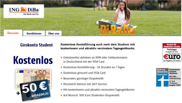 Studentenangebot: Kostenloses ING-DiBa Girokonto + gratis Kreditkarte + 100 Euro Prämie!