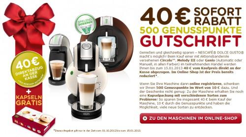 40 € Rabatt auf ausgewählte Dolce Gusto Maschinen und zusätzlich Bonuspunkte im Wert von 10 € sichern