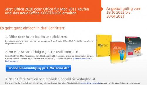 Microsoft: Office 2010 oder Office für Mac 2011 kaufen und Office 2013 gratis bekommen