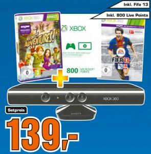 Xbox 360 Kinect mit Kinect Adventures, FIFA 13 & 800 XBL-Points für 139 €