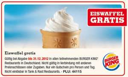 Burger King Deutschland: Eiswaffel kostenlos durch Gutschein