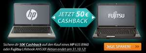 50 € Cashback auf ausgewählte HP- und Fujitsu-Notebooks - z.B. Fujitsu Lifebook AH 530 für 221,80 €