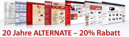 Alternate: 20% Jubiläums-Rabatt auf ausgewählte Artikel - z.B. Iiyama ProLite E2382HSD für 127 € statt 156 €