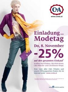 Modetag bei C&A Österreich mit 25% Rabatt auf alles - nur in den Filialen