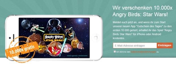 """Vorankündigung zur """"Gutschein des Tages"""" App – Angry Birds Star Wars gratis für die 10.000 Schnellsten! *Update*"""