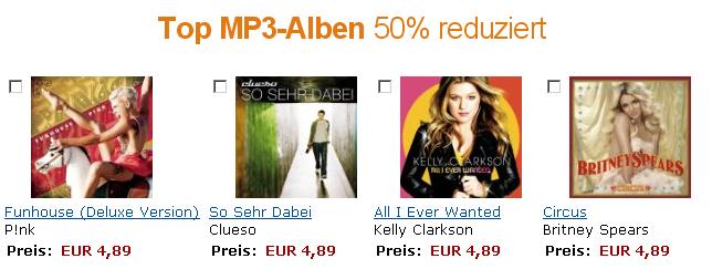 50% Rabatt auf 1 von über 100 MP3 Alben bei Amazon