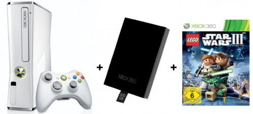 Xbox 360 4 GB White Limited Edition + 320 GB Festplatte + Lego Star Wars 3 für 195 € - 26% sparen