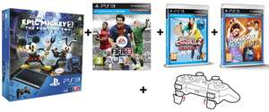 PlayStation 3 SuperSlim mit FIFA 13, Epic Mickey 2, Move Starterset, Gioteck Triggers & 2 Move-Spielen um 270 €
