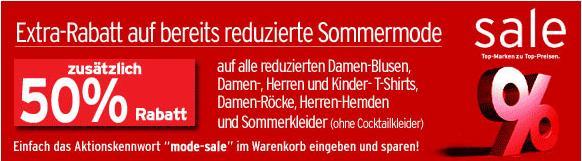 [Kleidung] 50% Extrarabatt auf bereits reduzierte Ware bei Karstadt!
