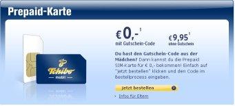 Prepaid SIM-Karte mit 50 Freiminuten und 10 Gratis-SMS/Monat für 0€ bei Tchibo.de