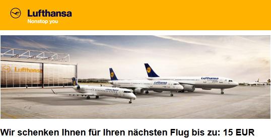 15 Euro Lufthansa Gutschein für Abflüge aus Deutschland